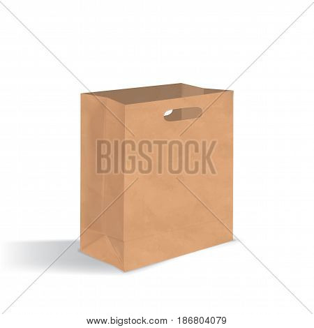 Empty brown paper bag with handles holes. Realistic kraft package with shadows isolated on white background. design template