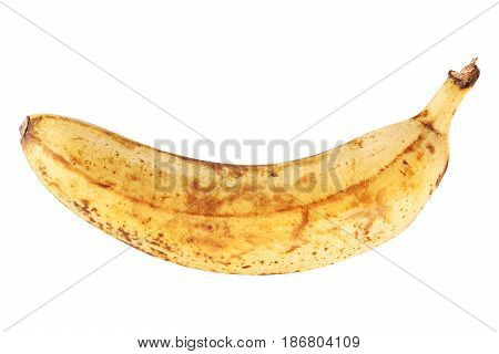 Very ripe banana isolated on white background closeup