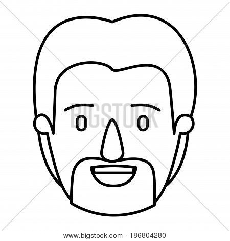 silhouette image caricature front view bearded man with moustache vector illustration