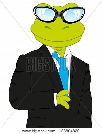 Cartoon of the frog in suit with tie on white background