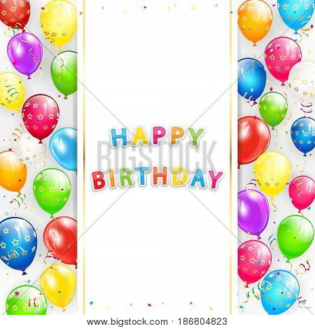 Card with lettering Happy Birthday. Frame of flying colorful balloons, multicolored streamers and confetti, illustration.