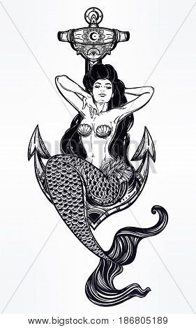 Hand drawn artwork of beautiful mermaid girl sitting on anchor. Graceful ocean siren in retro style. Sea, fantasy, spirituality, mythology, tattoo art, coloring books. Isolated vector illustration.