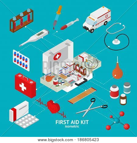 First Aid Kit Element Set Isometric View Clinic and Emergency Ambulance Medicine. Vector illustration