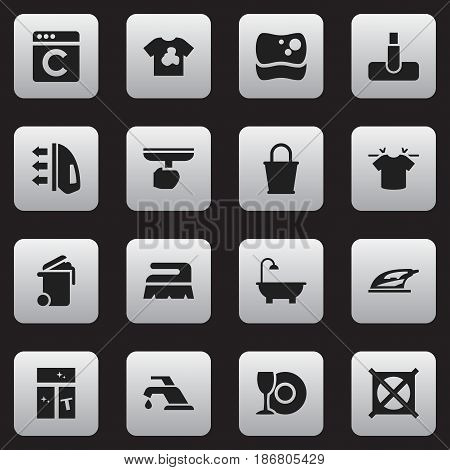 Set Of 16 Editable Cleaning Icons. Includes Symbols Such As Laundress, Hoover, Clean T-Shirt And More. Can Be Used For Web, Mobile, UI And Infographic Design.