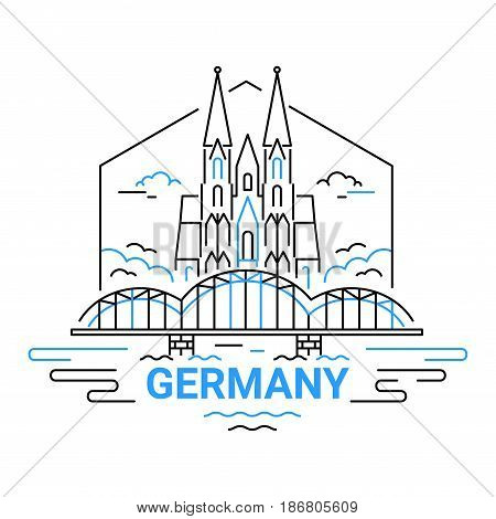 Germany - modern vector line travel illustration of postcard with European architecture. Composition with famous landmarks - Cologne cathedral