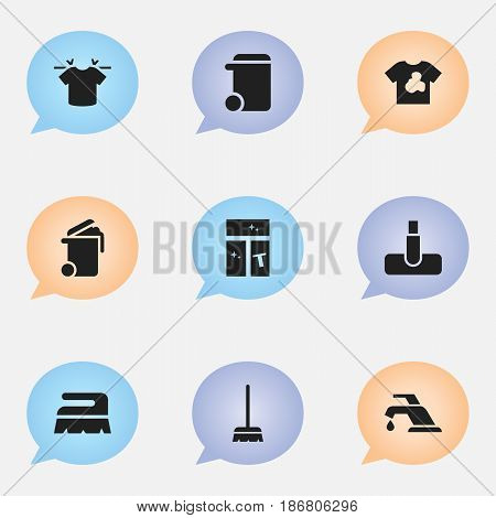 Set Of 9 Editable Cleanup Icons. Includes Symbols Such As Container, Whisk, Hoover And More. Can Be Used For Web, Mobile, UI And Infographic Design.