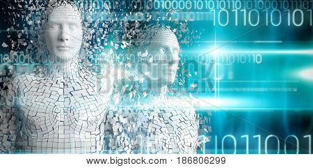Close-up of pixelated gray 3d man against blue technology design with binary code