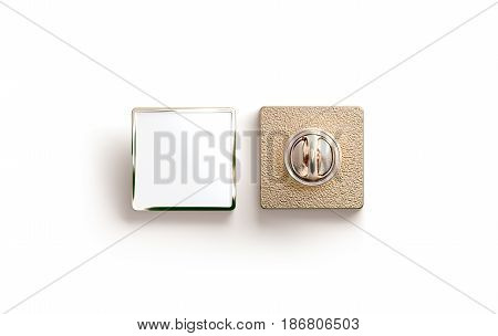 Blank gold enamel pin mock up front and back side view 3d rendering. Empty luxury hard lapel badge mockup. Golden clasp-pin design template. Matal square brooch for logo presentation.