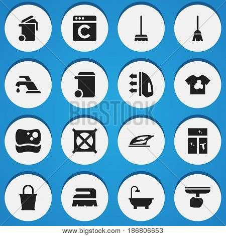Set Of 16 Editable Cleanup Icons. Includes Symbols Such As No Laundry, Washing Glass, Container And More. Can Be Used For Web, Mobile, UI And Infographic Design.
