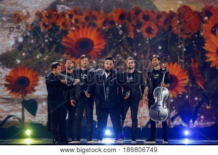 KYIV UKRAINE - MAY 12 2017: Jacques Houdek from Croatia at the Grand Final rehearsal during Eurovision Song Contest in Kyiv Ukraine