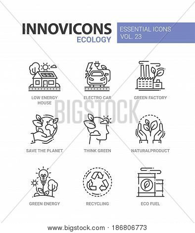 Ecology - modern color vector single line icons set. Low energy house, electro car, green factory, save the planet, think green, natural product, recycle, eco fuel