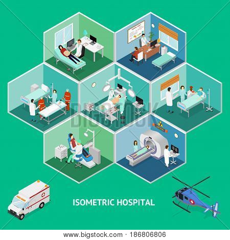 Medicine Hospital Concept Isometric View Indoor Structure Room Interior Clinic Emergency Center. Vector illustration