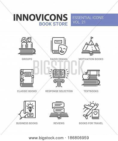 Book store - modern color vector single line icons set. Group, radio drama, motivation book, classic, response selection, textbook, business, review, travel guide poster