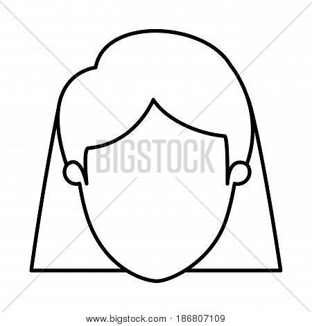silhouette image caricature front view faceless closeup woman with short straight hair vector illustration
