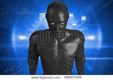 Equations on black background against composite image of data technology background