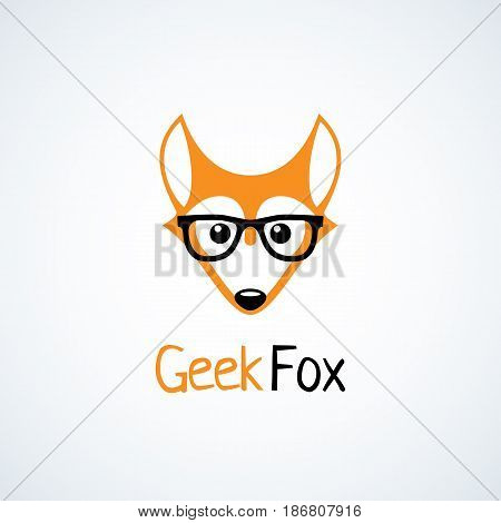 Geek logo design template with fox in glasses. Vector illustration.