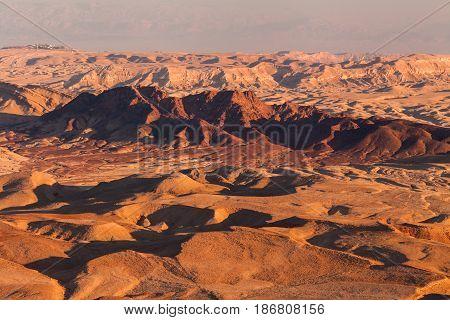 Sunset in the Negev desert. Makhtesh Ramon Crater. Israel