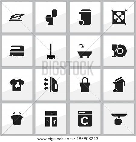 Set Of 16 Editable Cleanup Icons. Includes Symbols Such As Clean T-Shirt, Sweep, Steam And More. Can Be Used For Web, Mobile, UI And Infographic Design.