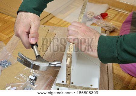 Hammering  Wooden Dowels