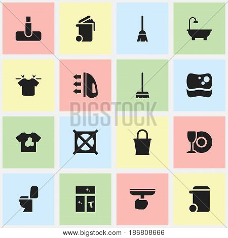 Set Of 16 Editable Cleaning Icons. Includes Symbols Such As No Laundry, Washing Tool, Broomstick And More. Can Be Used For Web, Mobile, UI And Infographic Design.