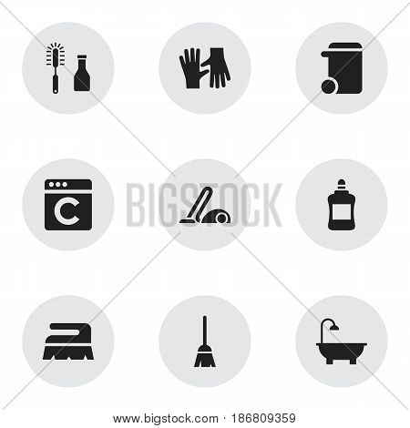 Set Of 9 Editable Hygiene Icons. Includes Symbols Such As Cleanser, Gauntlet, Cleaner And More. Can Be Used For Web, Mobile, UI And Infographic Design.
