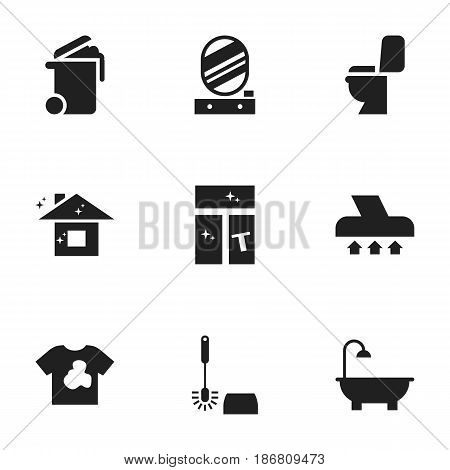 Set Of 9 Editable Dry-Cleaning Icons. Includes Symbols Such As Restroom, Wall Mirror, Exhauster And More. Can Be Used For Web, Mobile, UI And Infographic Design.