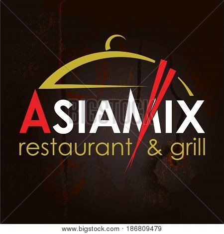 AsiaMix. Abstract Creative concept vector Logo for Asian restaurant. Design for restaurants and cafes. Business logo. Imitation of a wooden structure. Vector Illustration