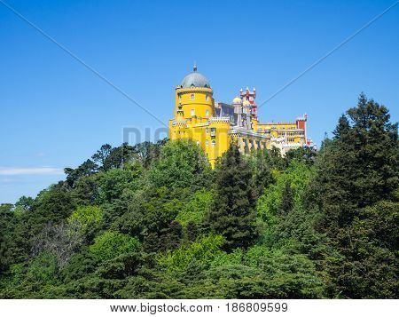 Palace of Pena, Sintra beautiful castle in Portugal.