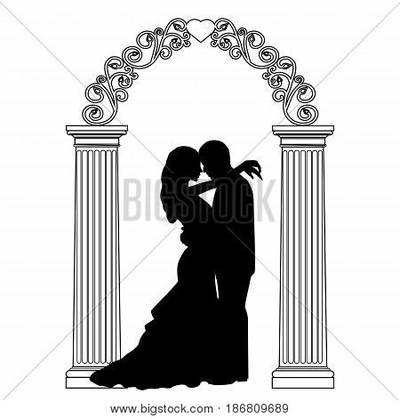 The bride and groom. Wedding arch with bride and groom isolated on white background. Wedding decoration. Vector illustration.