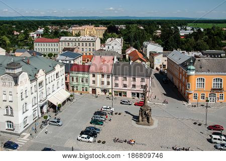LITOVEL, CZECH REPUBLIC -JUNE 06, 2016: View of the town square Premysl Otakar in Litovel from the town hall tower after renovation in 2015, Czech Republic