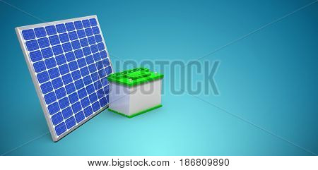 3d image of solar panel with battery against blue vignette background