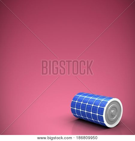 High angle view of 3d solar battery against red and white background