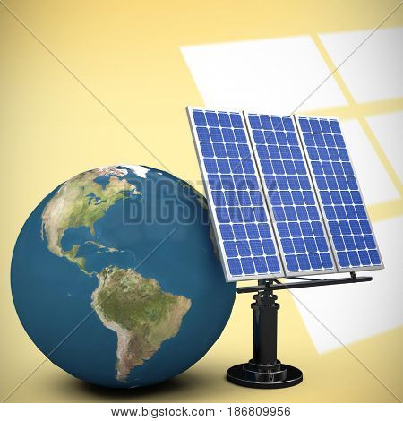 3d image of globe with solar equipment against white squares on yellow background