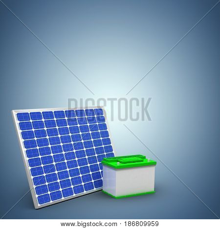 Digitally generated image of 3d solar panel with battery against purple vignette