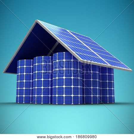3d image of house made from solar panels and cells against blue vignette background