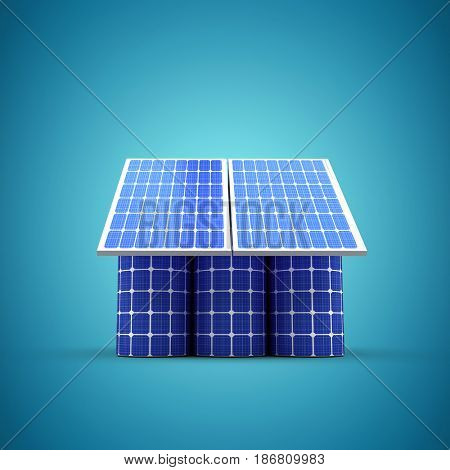 3d image of house model made from solar cell and panels against blue vignette background