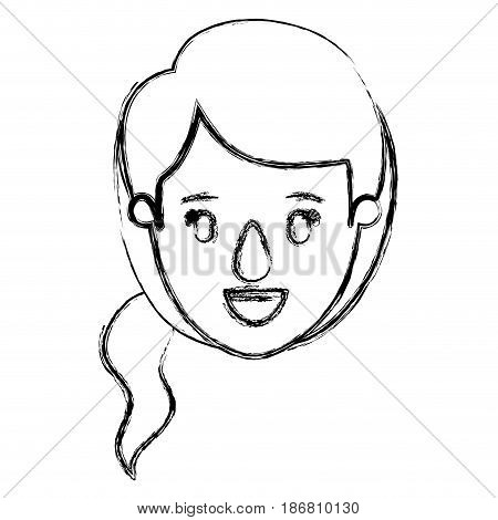 blurred silhouette caricature front view face woman with ponytail side hairstyle vector illustration