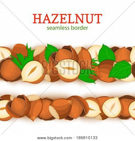 Hazelnut Horizontal seamless border. Vector illustration card. Wide and narrow endless strip with walnut nut fruit in the shell whole shelled leaves for packaging design of healthy food, detox, diet