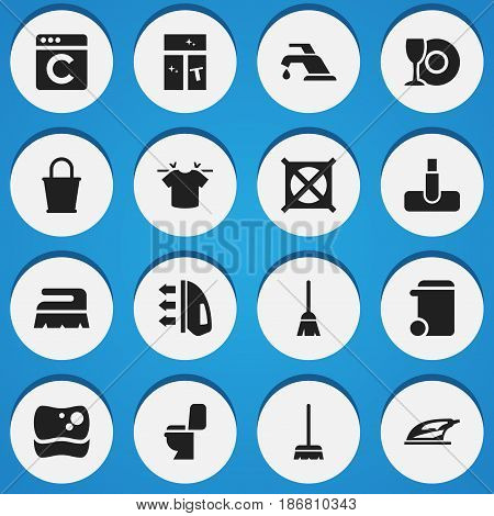 Set Of 16 Editable Hygiene Icons. Includes Symbols Such As Washing Glass, Appliance, Restroom And More. Can Be Used For Web, Mobile, UI And Infographic Design.