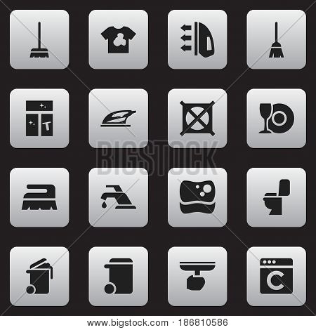 Set Of 16 Editable Hygiene Icons. Includes Symbols Such As Washing Tool, Faucet, No Laundry And More. Can Be Used For Web, Mobile, UI And Infographic Design.