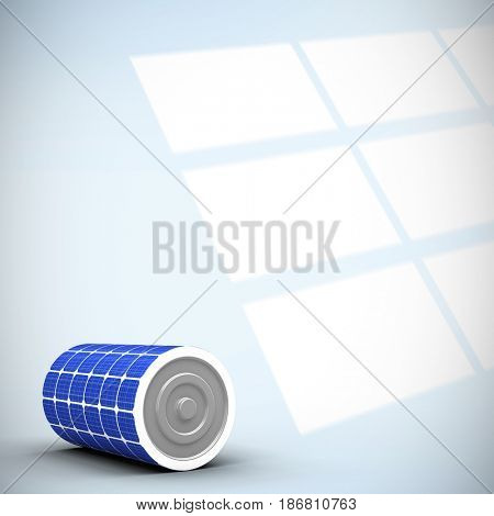 Digitally generated image of 3d solar power battery against digital image of pattern