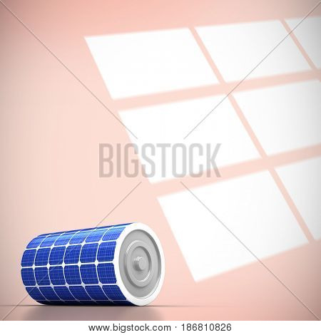 3d image of blue solar battery against squares on orange background