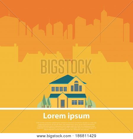 Flat Residential House. Cottage in the city. Vector illustration.