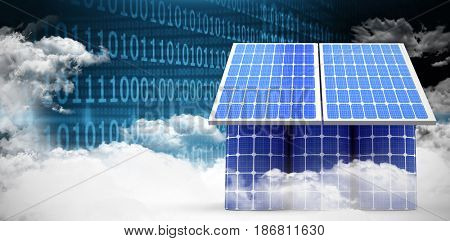 3d image of house model made from solar cell and panels against clouds and binary coded computer screen