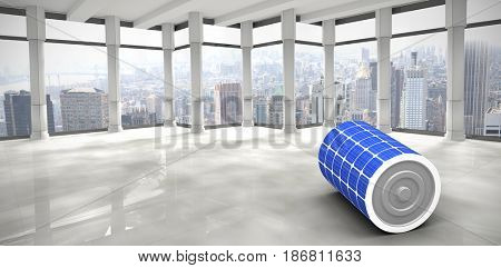 3d image of solar battery against modern room overlooking city