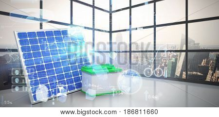 Digitally generated image of 3d solar panel with battery against room with large window showing city
