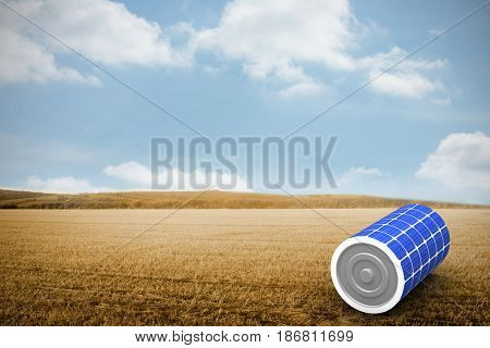 Vector image of 3d solar battery against bright brown landscape