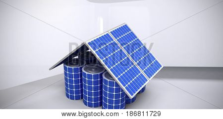3d image of house model made from solar panels and cells against abstract room