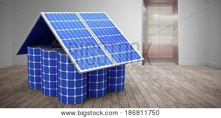 3d image of model home made from solar cells and panels against room with elevator