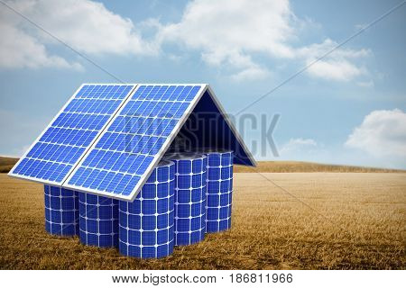 3d image of model home made from solar cells and panels against bright brown landscape